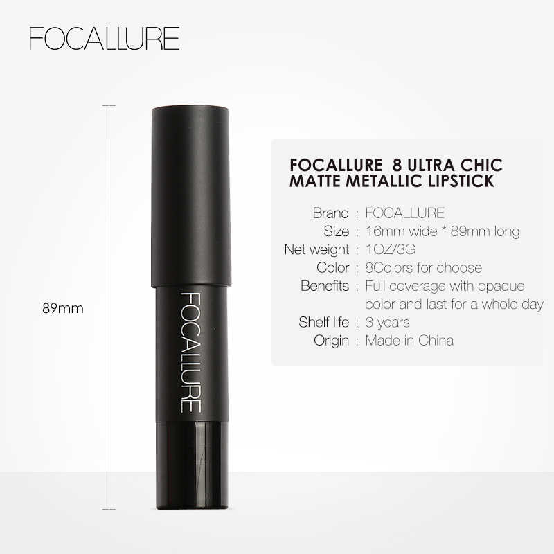 FOCALLURE Newest Easy to Wear Lipstick Hot Sexy Colors Lip Paint 8 Metallic Matte Lipstick Waterproof Long Lasting Lipstick