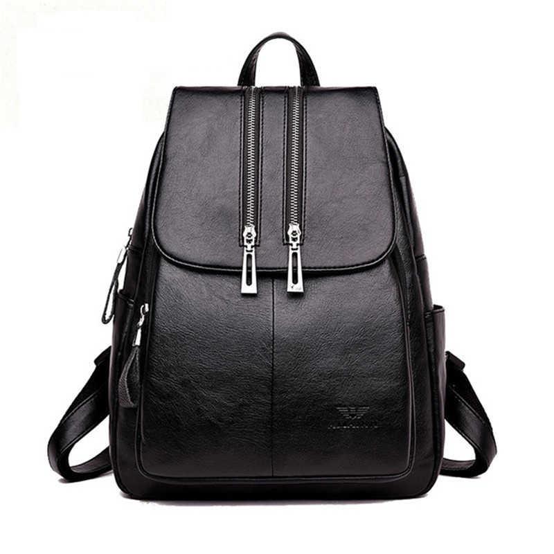 bc3917e971f9 Высокое качество кожаный рюкзак женщина Новое поступление Мода двойной  молнии Backbag женский большой ёмкость школьная сумка