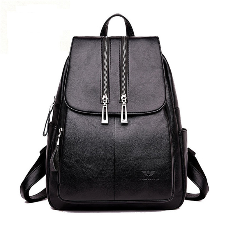 High Quality Leather Backpack Woman New Arrival Fashion Double Zipper Backbag Female Large Capacity School Bag Mochila Feminina