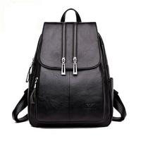 High Quality Leather Backpack Woman New Arrival Fashion Double Zipper Backbag Female Large Capacity School Bag Mochila Feminina