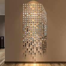 DIY Mosaic Little Squares 3D Acrylic Mirror Wall Sticker Liv