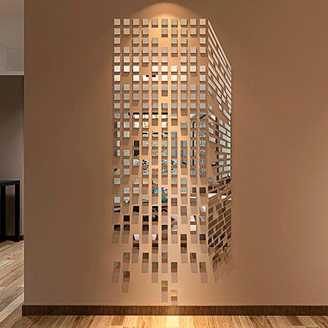 Diy Mosaik Kotak Kecil Acrylic Cermin Stiker Dinding Ruang Tamu Sofa Tv Latar Belakang Hiasan