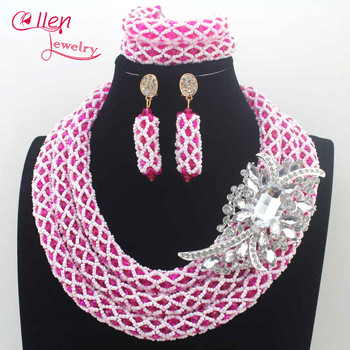 Amazing Pink and White Wedding Jewelry Set New 2019 African Nigerian Beads Crystal Jewelry Set for Brides Free Shipping N0100