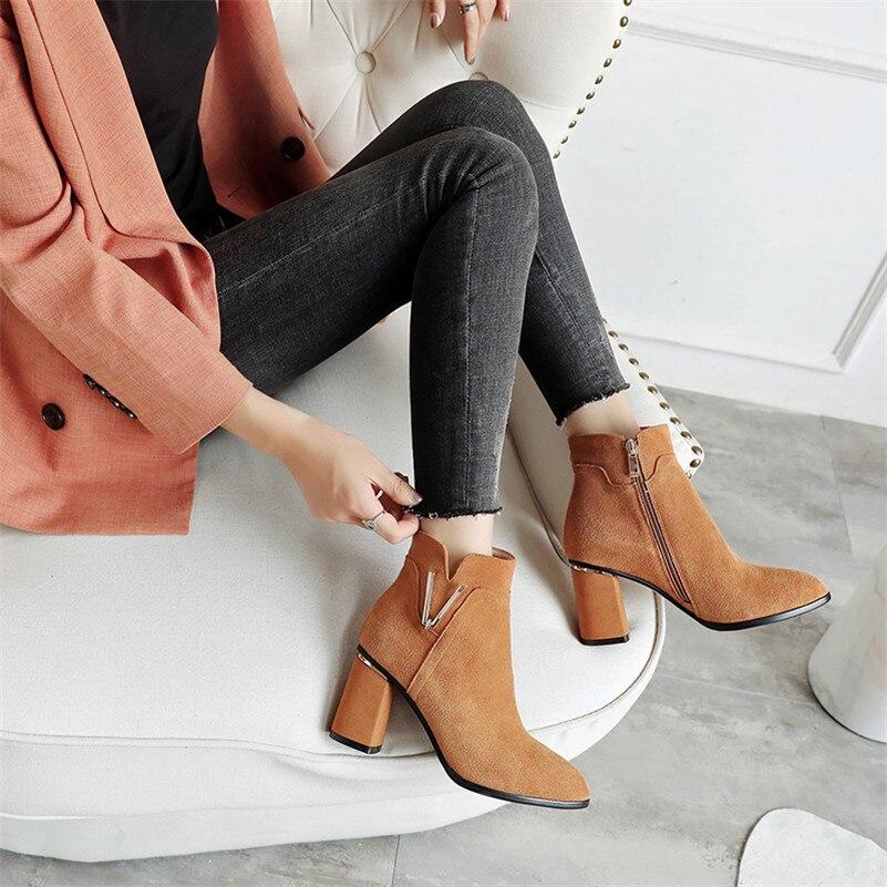 Bombas Zapatos Mujer Fedonas De Del Invierno Negro Otoño Pie Alto Tacón Oficina 2019 Martin Dedo Cremallera 1 La Nuevo Mujeres Redondo Fiesta Boda CrHxqwWXH0