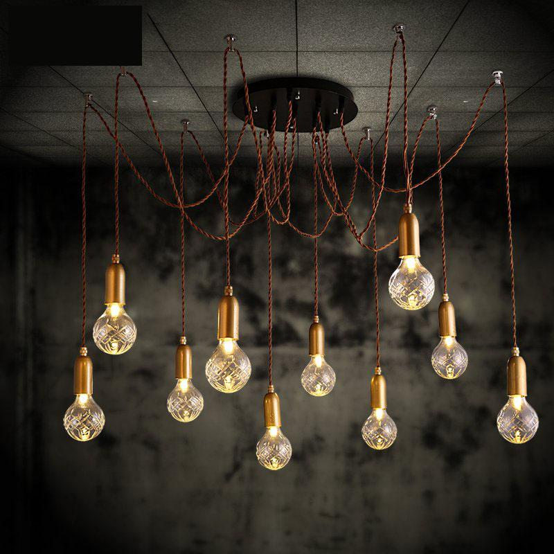 Spider Big bulb hanging lamp G9 Led crystal pendant lights large crystal pendant lamp for dining room glass Cafe light Lamparas factory cheap amber smoky gray red coffee blue glass pendant lamp pendant light edison bulb bedroom dining room cafe kitchen bar