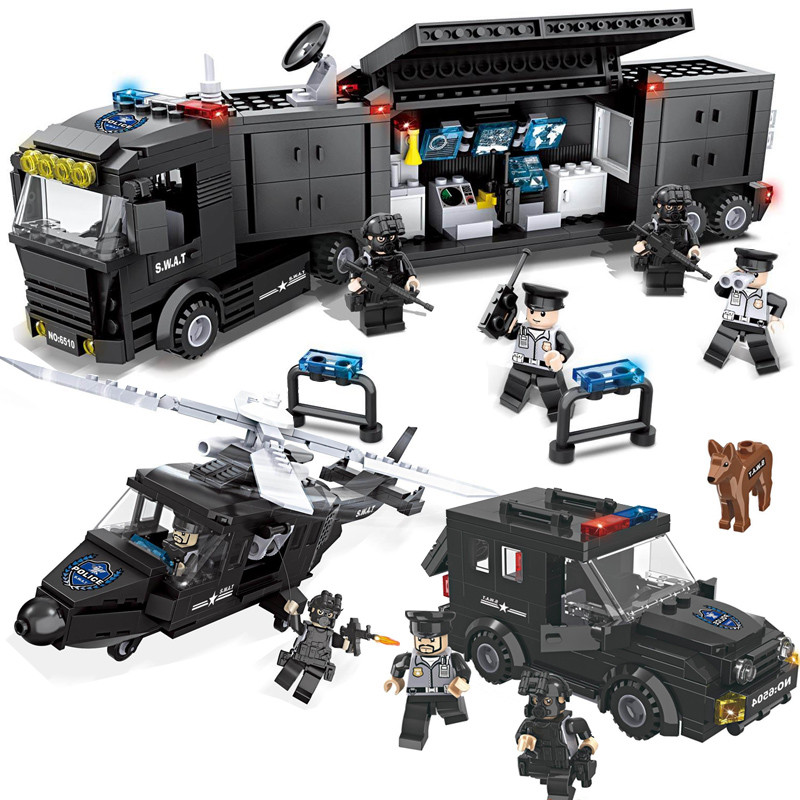 HSANHE SWAT Series With Weapon Police Helicopter Car Block Building Model Set Collection  Brick Toys Gifts For Children