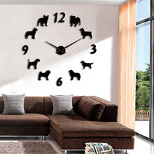 1Piece DIY Different Dog Breeds Large Wall Clock Modern Design Pet Dogs Animal Home Decor Wall Watch For Puppy Lover Gift