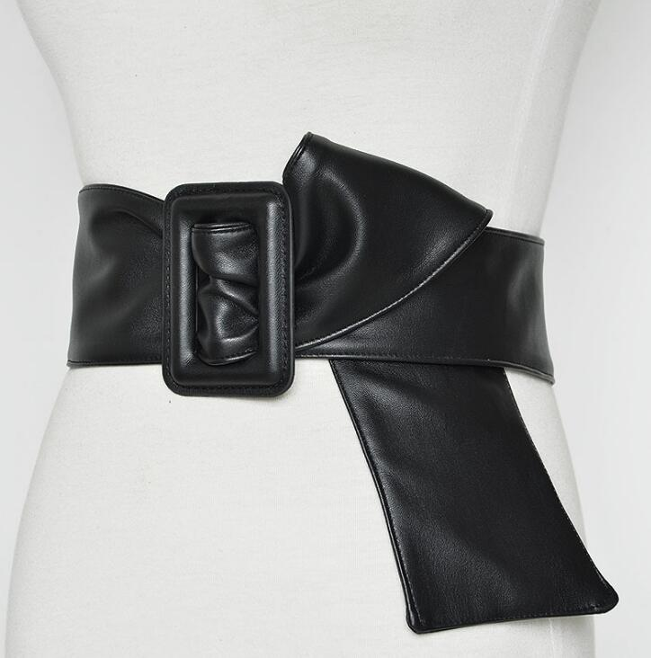 Women's Runway Fashion PU Leather Elastic Cummerbunds Female Dress Corsets Waistband Belts Decoration Long Wide Belt R1391