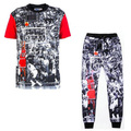 Raisevern new 3D terno jordan last shot camiseta topos + calças Harajuku roupas definir basquete terno Funny Tops e calças corredores