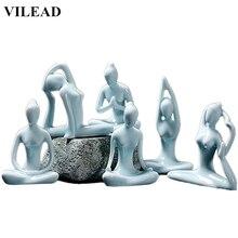 VILEAD 4.4 Green Ceramic Woman Yoga Model Abstract Girl Figurines Vintage Home Decor Creative Gift Modern Decoration