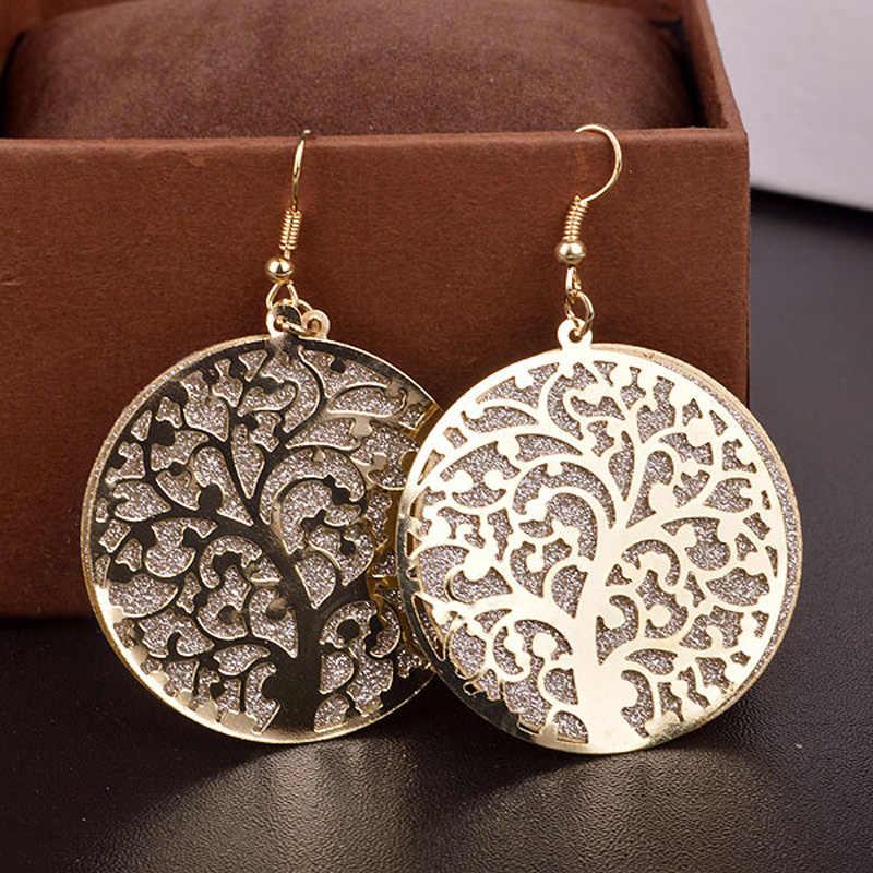 Fashion Jewelry Round Life Tree Hollow Out Scrub Earrings for Women long Earrings Designs Fine Jewelry