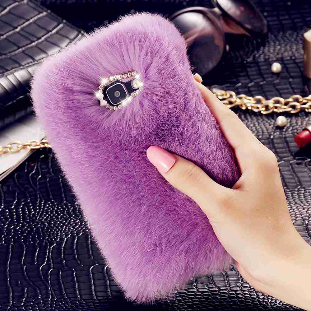 KISSCASE Rabbit Hair Fur Cases For iPhone 7 6s 6 Plus Case For Samsung Galaxy S7 S6 Edge Back Cover Bling Diamond Luxury Fundas