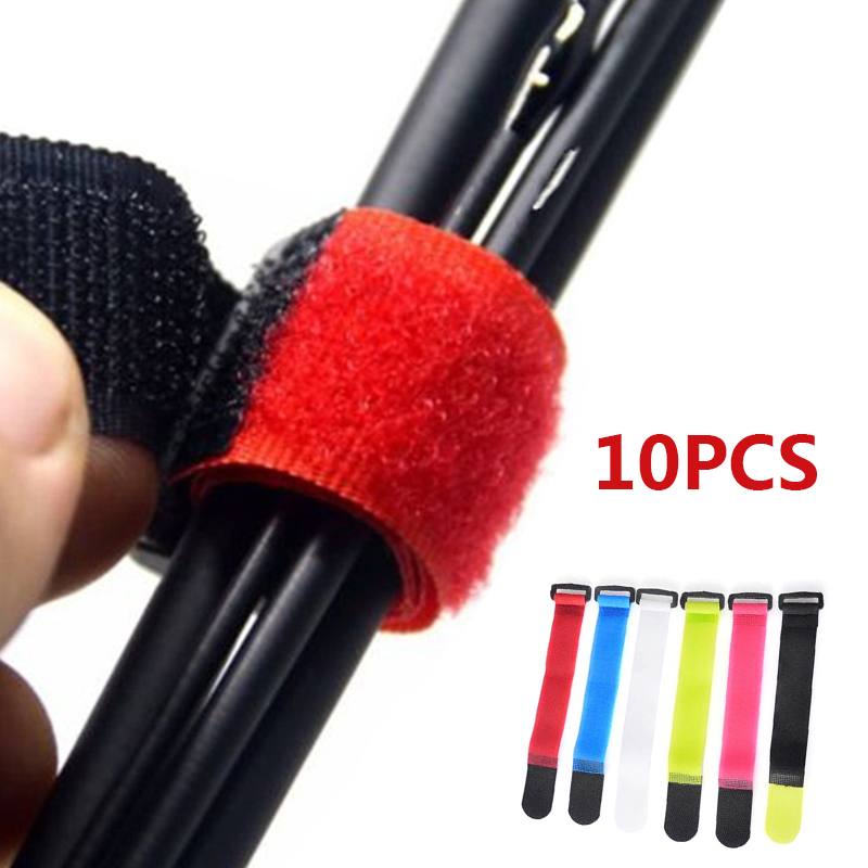 Relefree 10pcs 8inch Self Adhesive Reusable Cable Tie Nylon Fastener Hook Loop Strap Cord Ties Fishing Rod Tool Fastening Tape