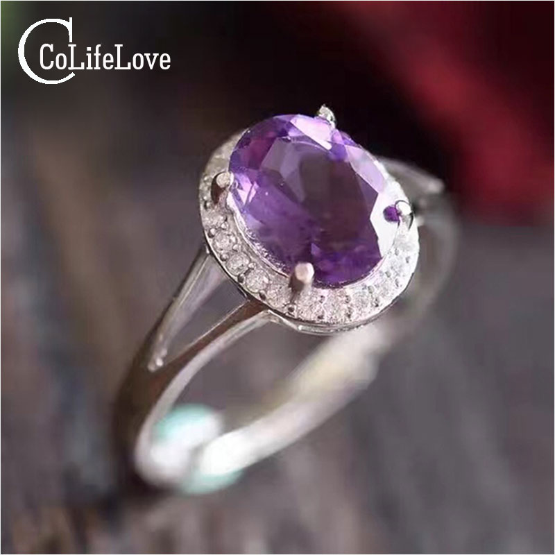 Classic natural amethyst ring 7mm * 9mm oval cut amethyst 1.2 ct natural amethyst pure 925 sterling silver woman gemstone ring нож inhouse amethyst ck 13
