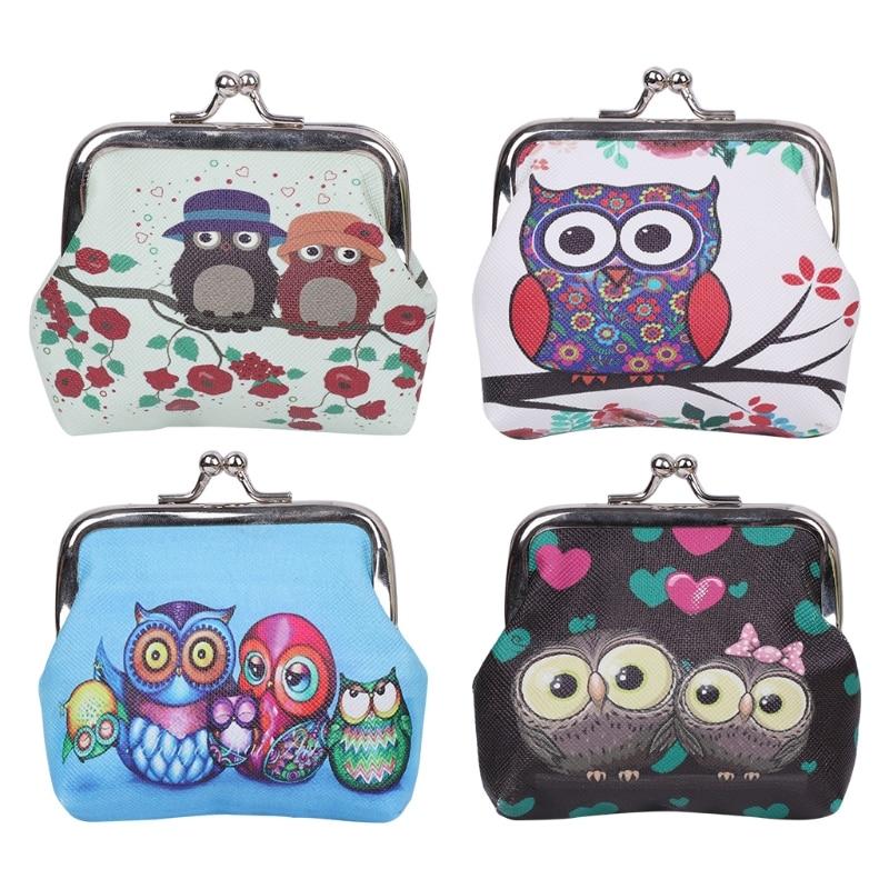 THINKTHENDO Women Girl Retro Coin Storage Purse Owls faux leather Mini Change Wallet Hasp Clutch Bag 2017 Fashion new