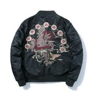 Image 1 - Куртка бомбер для мужчин с вышивкой; Одежда с рисунком из аниме куртка пилота Harajuku Японская уличная одежда бейсбольная куртка для девочек толстое теплое Молодежная Повседневная Новая