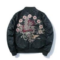 Bomber Jacket Men Winter Embroidery Anime Pilot Jacket Harajuku Japanese Streetwear Baseball Jacket Thick Warm Youth Casual New