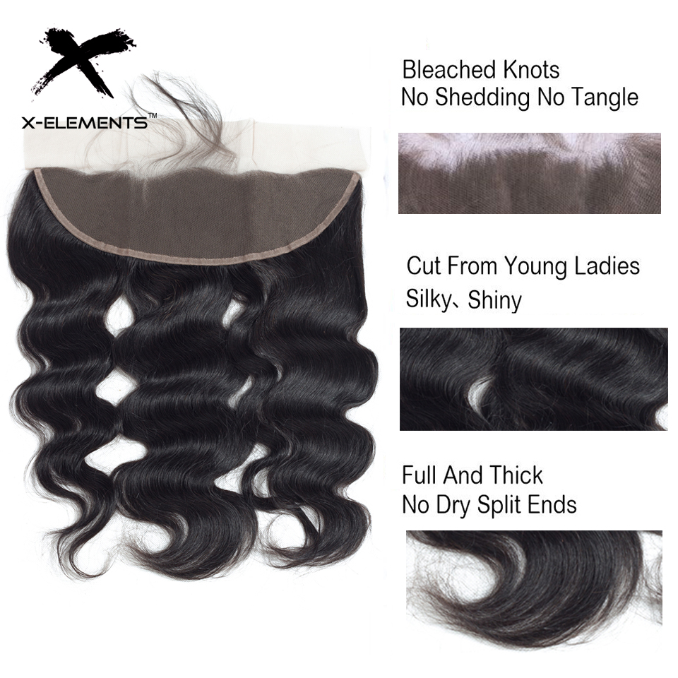 X-Elements Hair Body Wave 13 * 4 Spets Frontal With Baby Hair - Mänskligt hår (svart) - Foto 4