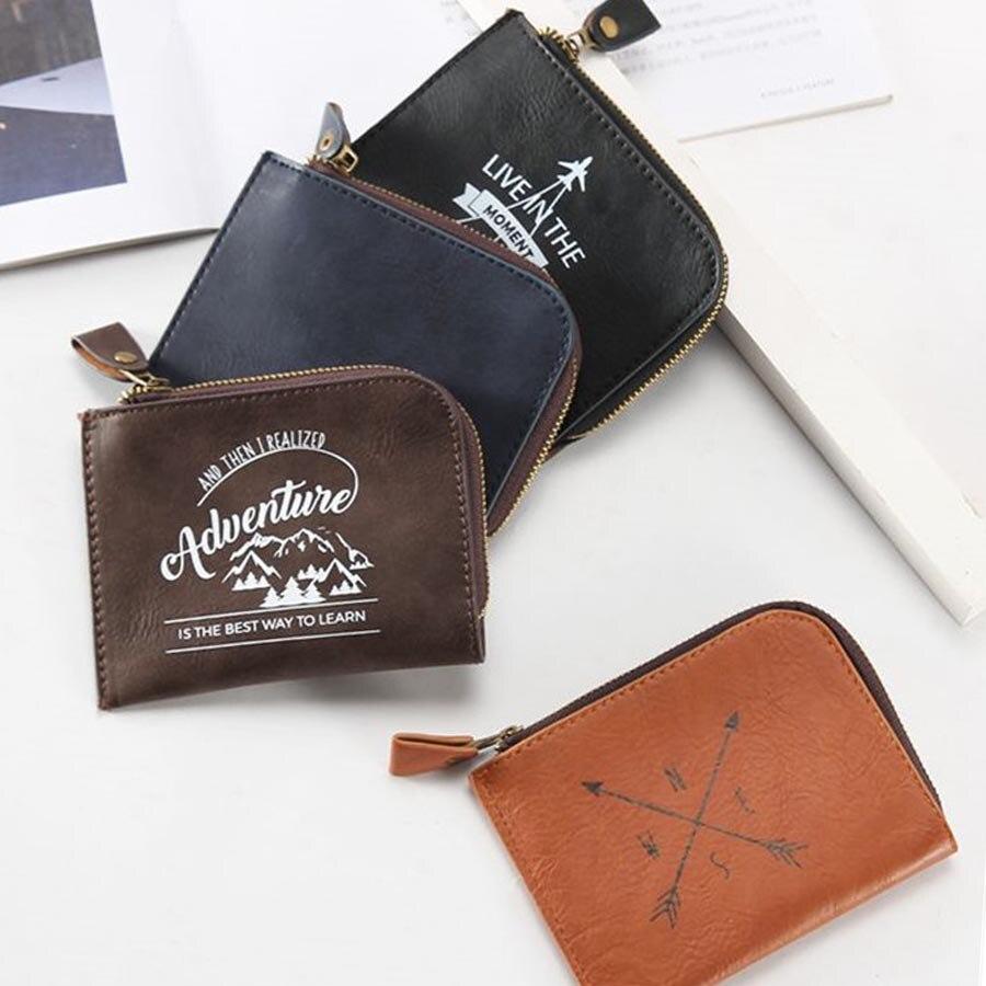 Zoukane Fashion Men Mini Wallet Ladies Zipper Coin Purse Multifunctional Small High Grade Coin Credit Card Key Ring Wallet CP02