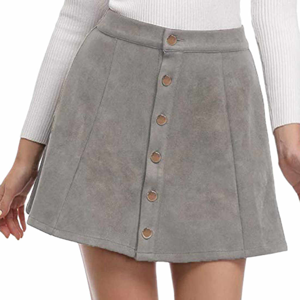 Jaycosin skirt ladies street casual deer suede button skirt short Waist Plain A-Line Short Mini Skirt ladies simple daily skirt