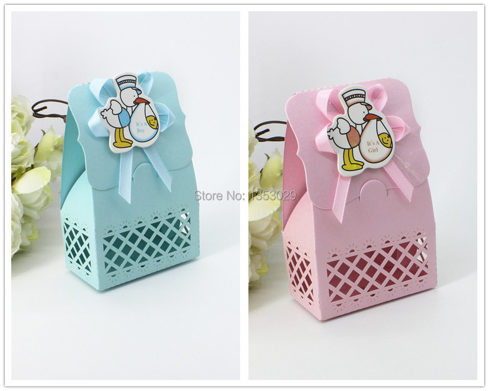 Favour Boxes Baby Blue : Free shipping pcs lot pink blue baby shower favor box