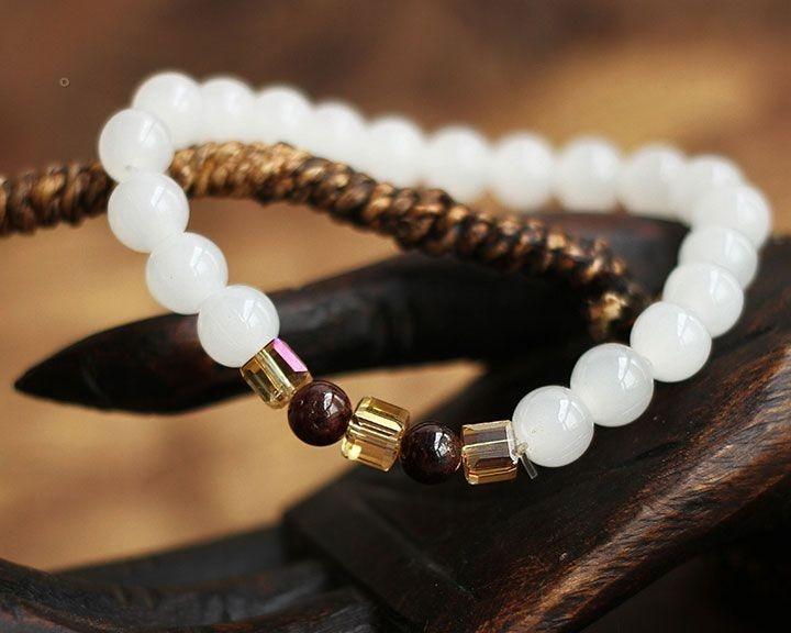 Natural White Chalcedony Bracelet 3