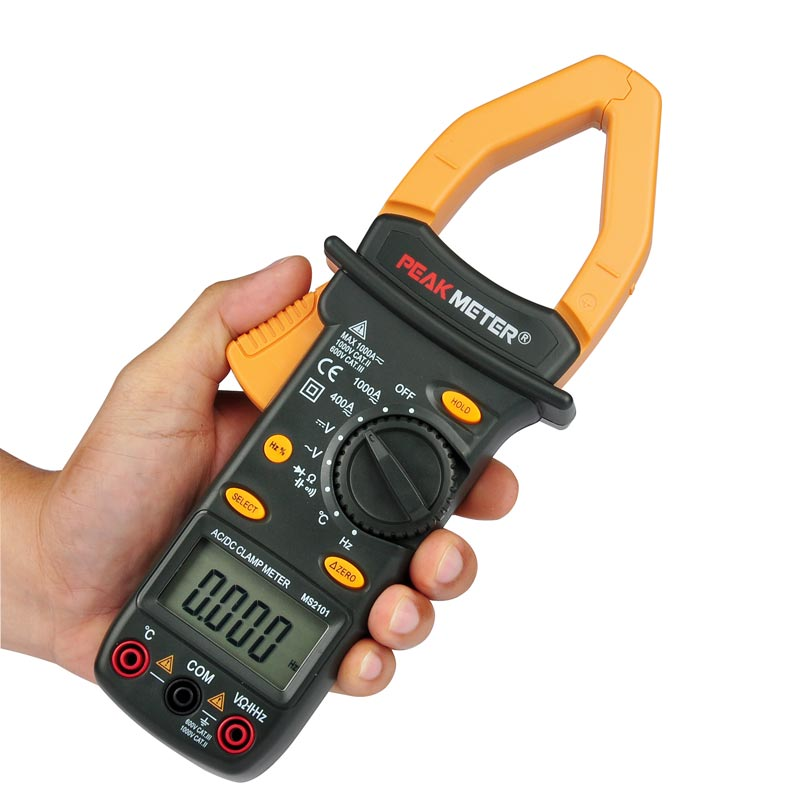 Oficial PEAKMETER PM2101 Auto Range AC DC Tensão frequência Atual Alicate Amperímetro Digital Com Temperatura Tester Multimetro