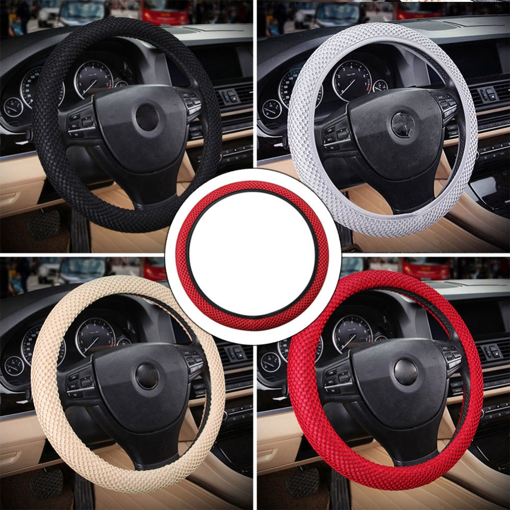 Braid On Steering Wheel Car Steering Wheel Cover With Needles and Mesh fabric Diameter 36-38cm Auto Car Accessories #266320 38 38cm