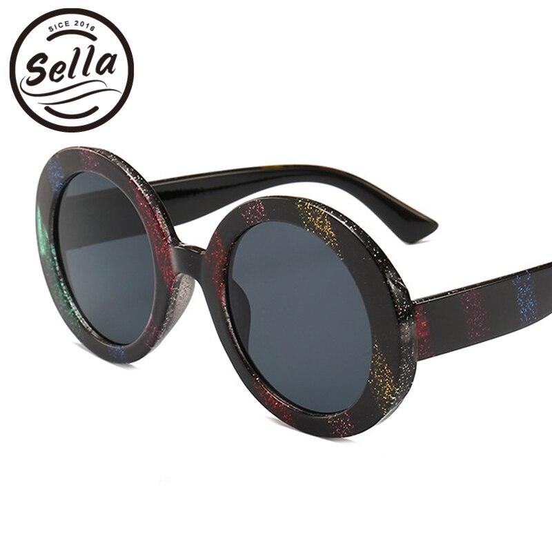 Sella nueva moda mujer de gran tamaño colorido rayado redondo brillo gafas de sol estilo europeo tendencia gafas de sol de lujo para mujer