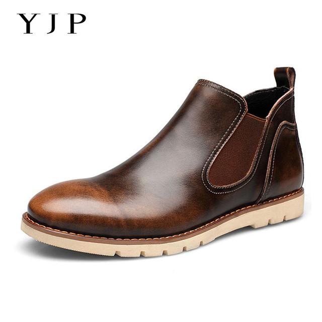 YJP Cuero Botas Chelsea, negro/Marrón/Rojo Slip-on Casual Zapatos de Los Hombres, Botines Punta Redonda de la vendimia