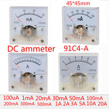 91C4-A 1A 2A 3A 5A 15A 20A 30mA 500mA 50mA Analog Current Panel Meter DC 10A Ammeter for Circuit Testing Ampere Tester Gauge(China)