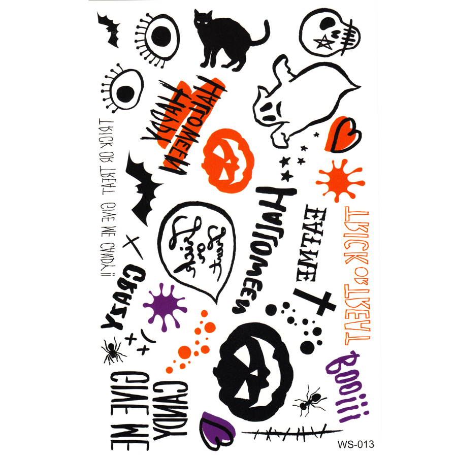 20pcs Pumpkin Cross Skull black cat bat boo tattoo sticker sexy tattoo body art Halloween Temporary tattoos stickers