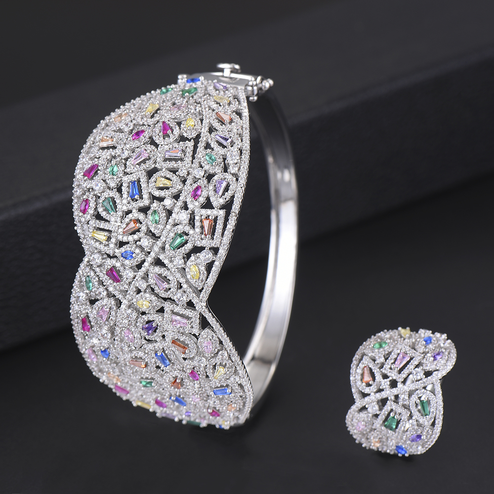 Fashion Jewelry Set Indian Style Wide Surface Hollow Full Cubic Zirconia Bangle Bracelet Ring jewelry sets For Women Engagement punk style solid color hollow out ring for women