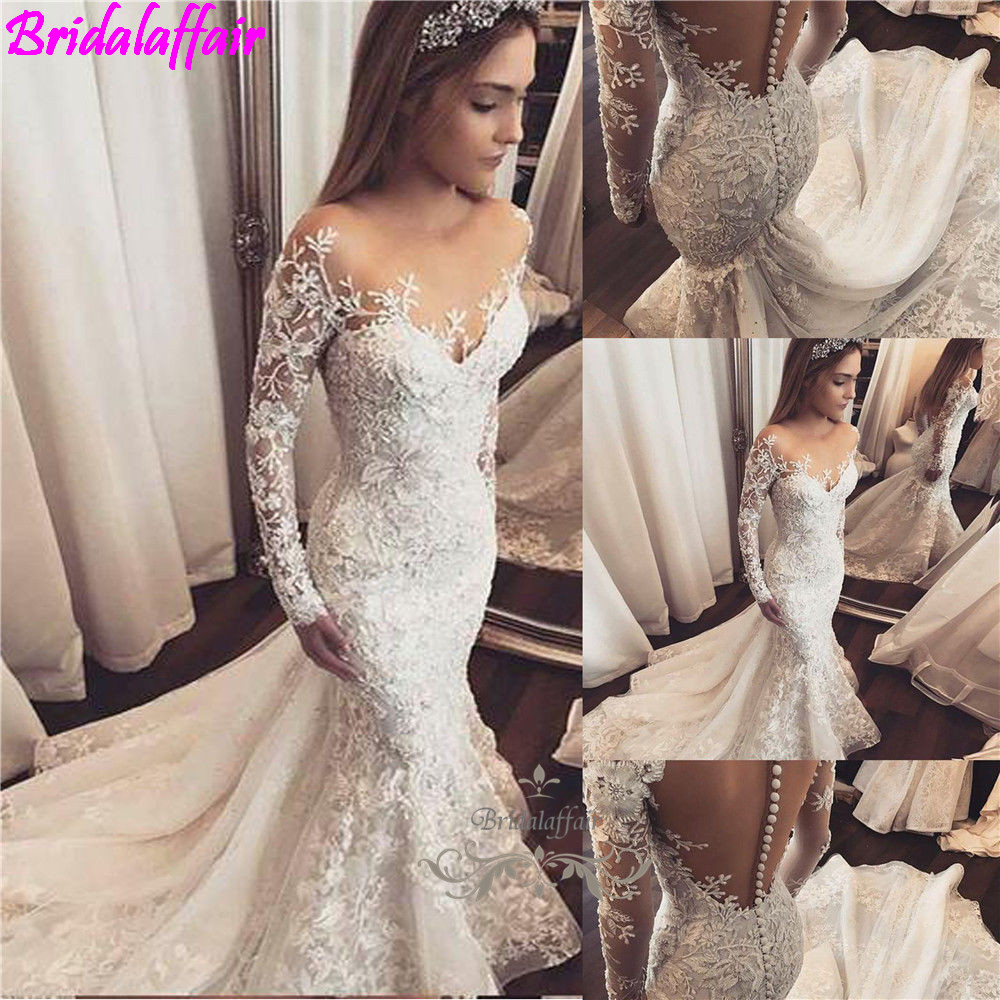 2019 luxury Lace mermaid wedding dresses Vestido De Noiva Da Sposa Plus Size Long Sleeve Wedding