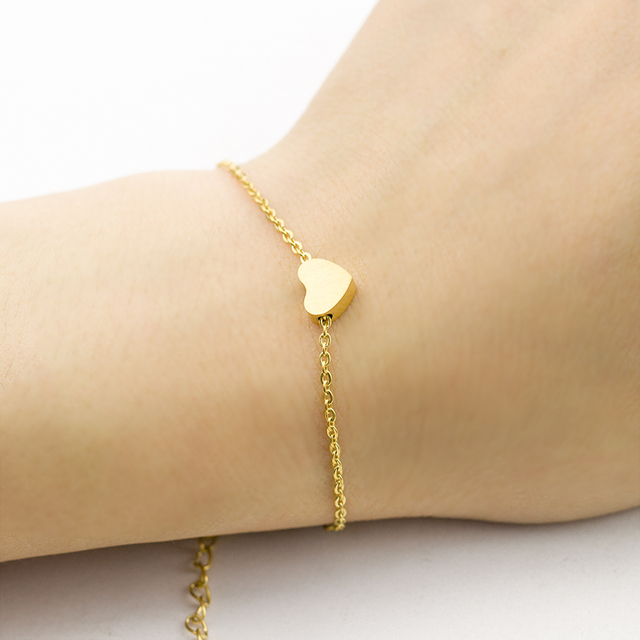 Stainless Steel Small Love Heart Pendant Bracelets Bangles For Women S Charm Chain Dainty Jewelry
