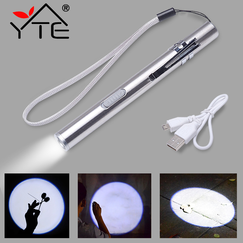 yte-usb-rechargeable-or-battery-led-flashlight-high-quality-powerful-mini-led-torch-xml-design-pen-hanging-with-metal-clip