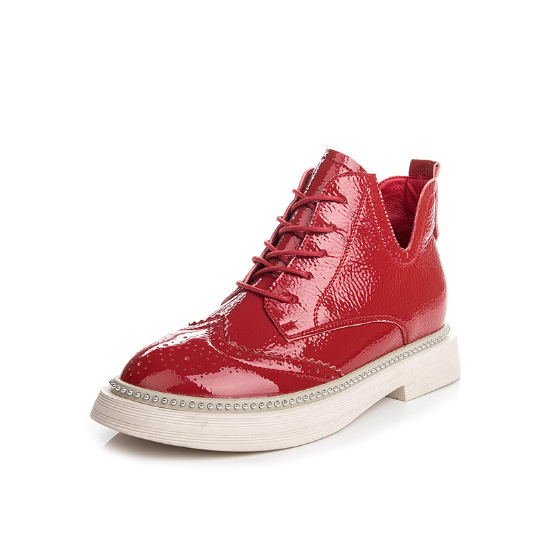 2018 autumn winter new fashion wild Shoes female Martin boots Europe America short boots patent leather Lace-up Woman's boots цена и фото