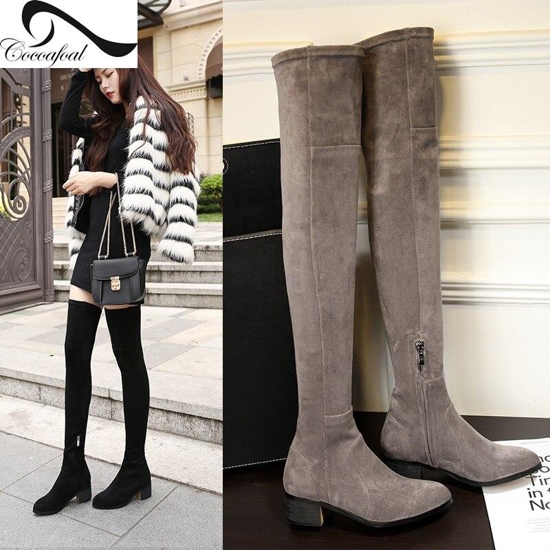 ФОТО Nubuck Leather Knee Boots Black/Grey/Red Wine 15 Autumn Winter Low-heel Boots Zipper Fashion Leisure Shoes Women Genuine Leather