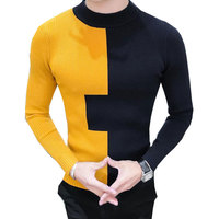 2018 Spring Contrast Color Yellow White Turtle Neck Black Knitted Sweater For Men Jersey Hombre Invierno
