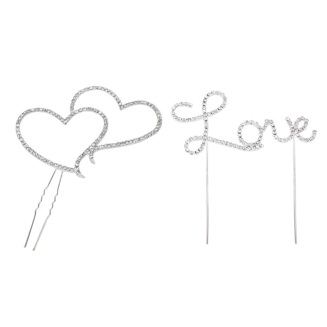 Love Letter & Double Heart Rhinestone Cake Topper Decoration for Cakes