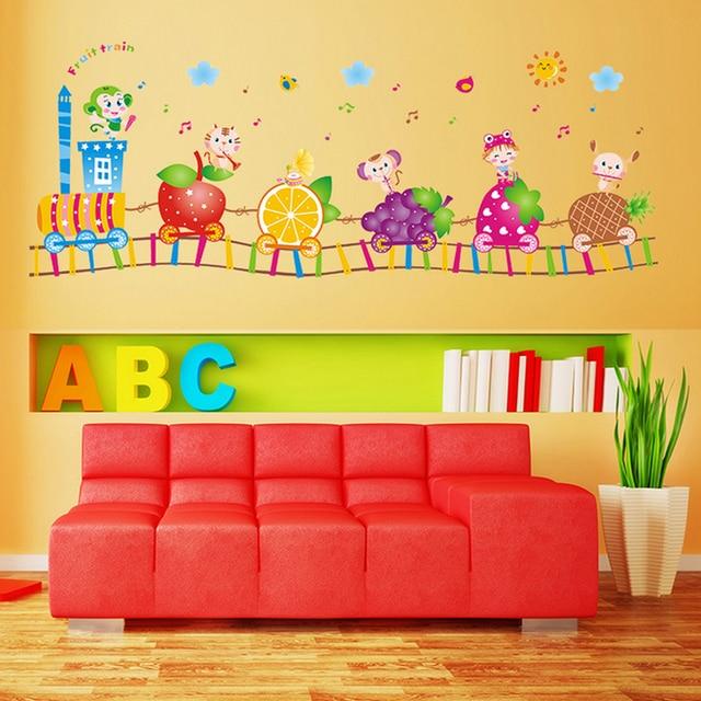 Fruit Animals Train Bird Strawberry Wall Sticker Home Decal kids ...