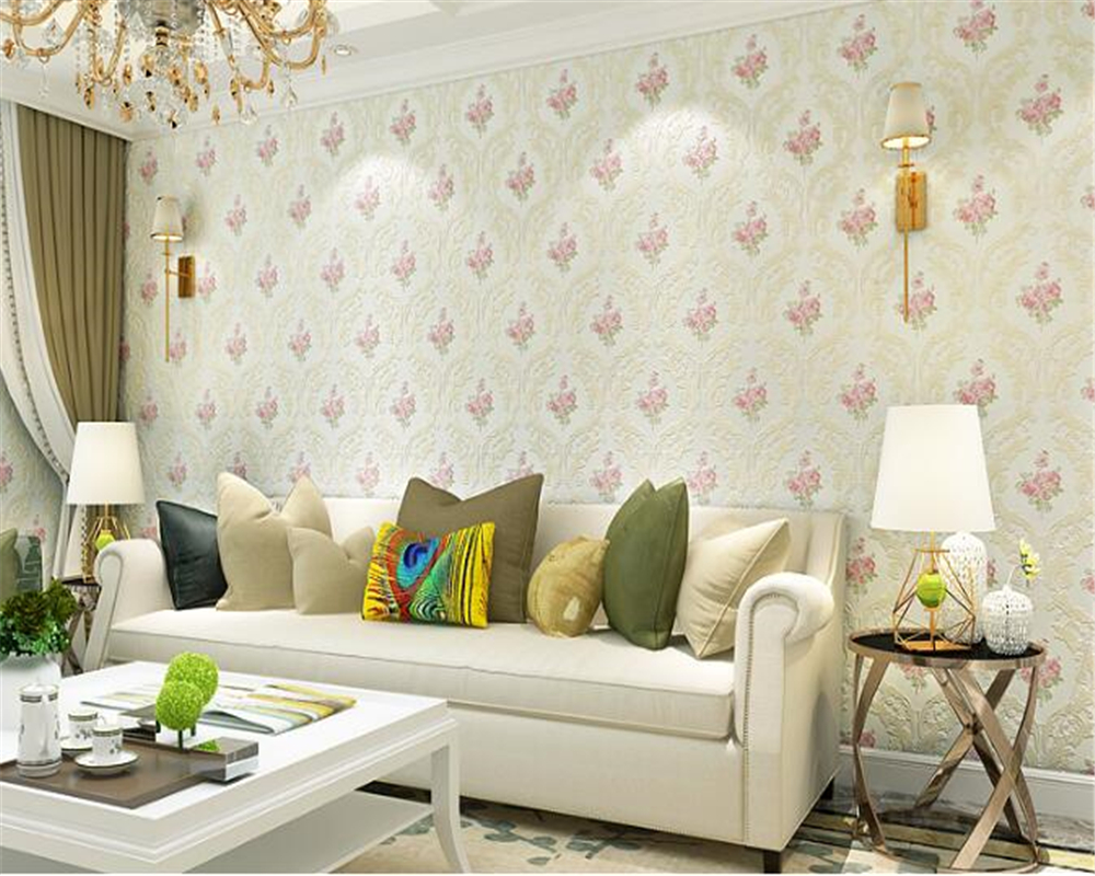 beibehang Warm pink garden wallpaper bedroom 3D fine embossed nonwoven large flower living room TV background wall paper tapety book knowledge power channel creative 3d large mural wallpaper 3d bedroom living room tv backdrop painting wallpaper