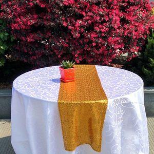 Image 3 - Sequin bảng runner vàng sáng bóng màu bạc sang trọng phong cách bán buôn thêu sequin bảng runner cho đám cưới khách sạn ăn tối bên