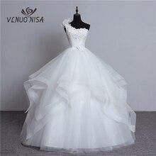 Роскошное Свадебное платье с бусинами, на одно плечо, из органзы, с бантом