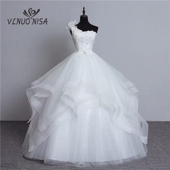 real photo Luxury Bead Fashion One Shoulder Wedding Dresses 2018 New Tiered Organza Sweet bride Princess Gown with Bow - discount item  35% OFF Wedding Dresses