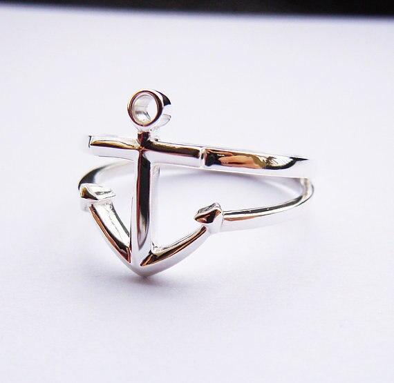 Anchor Ring Sterling Ezüst kézzel készített minden - Divatékszer