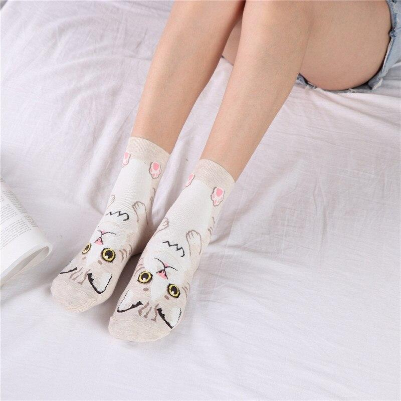 2019 Fashion Women   Socks   3D Cat Striped Cartoon Women Lovely Cat Footprints Funny Cute Soft Cotton Floor Cute   Socks   for Female