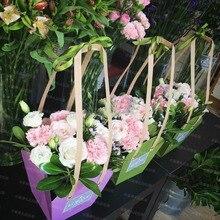10 шт крафт бумажный мешок водонепроницаемый цветок аранжирование упаковочные сумки с бумажной веревкой настроить бонсай посылка горшок Перевозчик