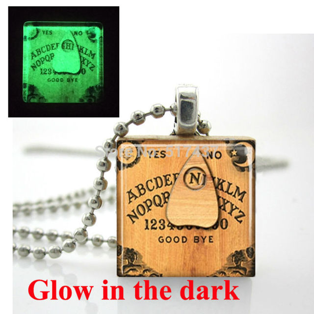 Glow in the dark necklace ouija board necklace scrabble tile glow in the dark necklace ouija board necklace scrabble tile pendant with ball chain glass aloadofball Choice Image
