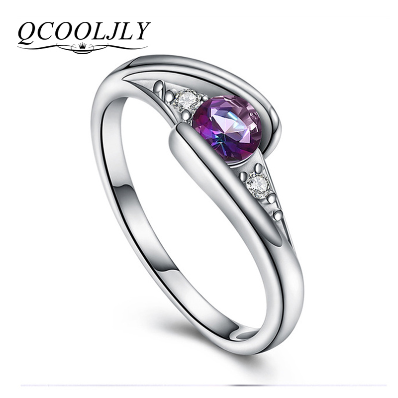 QCOOLJLY Trendy Design Hot Sale Colorful CZ Silver Rings AAA Zircon Wedding Rings for Women Size 6 7 8 9 10